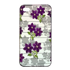 Purple Vintage Flowers Apple Iphone 4/4s Seamless Case (black) by Valentinaart