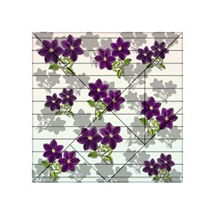 Purple Vintage Flowers Acrylic Tangram Puzzle (4  X 4 ) by Valentinaart