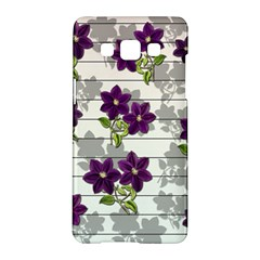 Purple Vintage Flowers Samsung Galaxy A5 Hardshell Case  by Valentinaart
