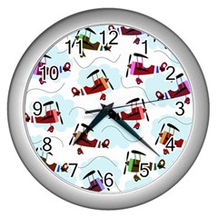 Airplanes Pattern Wall Clocks (silver)  by Valentinaart