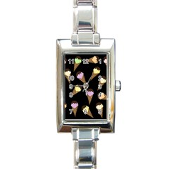 Ice Cream Cute Pattern Rectangle Italian Charm Watch by Valentinaart