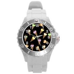 Ice Cream Cute Pattern Round Plastic Sport Watch (l) by Valentinaart