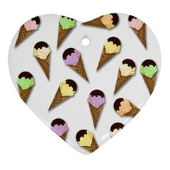 Ice Cream Pattern Ornament (heart) by Valentinaart
