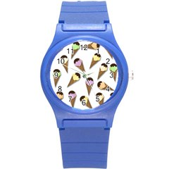 Ice Cream Pattern Round Plastic Sport Watch (s) by Valentinaart