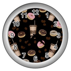 Coffee Break Wall Clocks (silver)  by Valentinaart