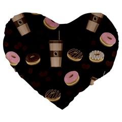 Coffee Break Large 19  Premium Heart Shape Cushions by Valentinaart