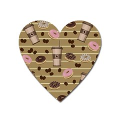 Coffee And Donuts  Heart Magnet by Valentinaart