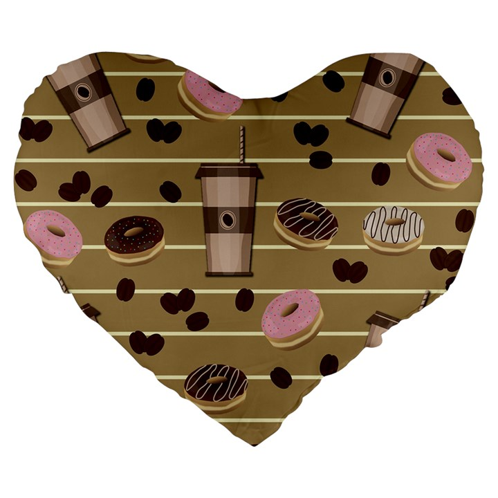 Coffee and donuts  Large 19  Premium Heart Shape Cushions