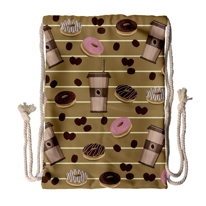 Coffee and donuts  Drawstring Bag (Large)