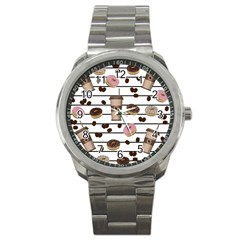 Donuts And Coffee Pattern Sport Metal Watch by Valentinaart