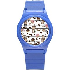 Donuts And Coffee Pattern Round Plastic Sport Watch (s) by Valentinaart