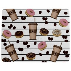 Donuts And Coffee Pattern Jigsaw Puzzle Photo Stand (rectangular) by Valentinaart