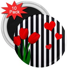 Tulips 3  Magnets (10 Pack)  by Valentinaart