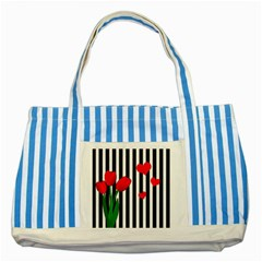 Tulips Striped Blue Tote Bag by Valentinaart