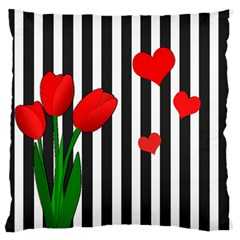 Tulips Large Flano Cushion Case (one Side) by Valentinaart
