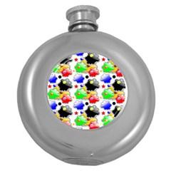 Pattern Background Wallpaper Design Round Hip Flask (5 Oz) by Nexatart