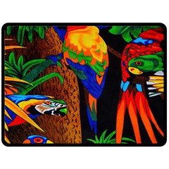 Parrots Aras Lori Parakeet Birds Double Sided Fleece Blanket (large)