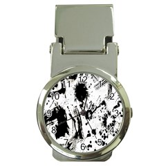 Pattern Color Painting Dab Black Money Clip Watches