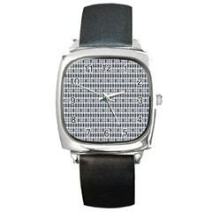 Pattern Grid Squares Texture Square Metal Watch by Nexatart