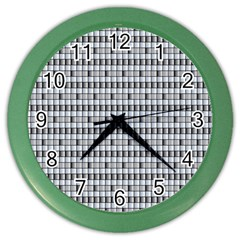 Pattern Grid Squares Texture Color Wall Clocks by Nexatart