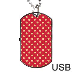 Pattern Felt Background Paper Red Dog Tag Usb Flash (two Sides) by Nexatart