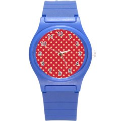 Pattern Felt Background Paper Red Round Plastic Sport Watch (s)