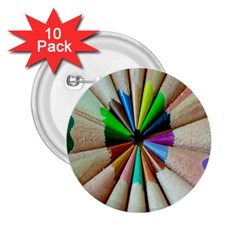 Pen Crayon Color Sharp Red Yellow 2 25  Buttons (10 Pack)