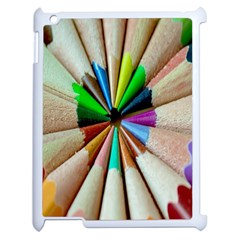 Pen Crayon Color Sharp Red Yellow Apple Ipad 2 Case (white) by Nexatart