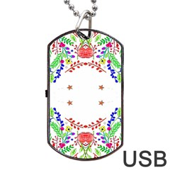 Holiday Festive Background With Space For Writing Dog Tag Usb Flash (one Side)