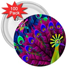 Peacock Abstract Digital Art 3  Buttons (100 Pack)