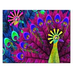 Peacock Abstract Digital Art Rectangular Jigsaw Puzzl