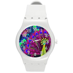 Peacock Abstract Digital Art Round Plastic Sport Watch (m)