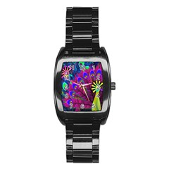 Peacock Abstract Digital Art Stainless Steel Barrel Watch