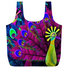 Peacock Abstract Digital Art Full Print Recycle Bags (l)