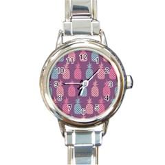 Pineapple Pattern  Round Italian Charm Watch by Nexatart