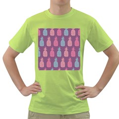 Pineapple Pattern  Green T Shirt by Nexatart