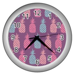 Pineapple Pattern  Wall Clocks (silver)  by Nexatart