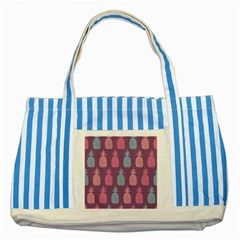Pineapple Pattern  Striped Blue Tote Bag by Nexatart