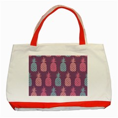 Pineapple Pattern  Classic Tote Bag (red) by Nexatart