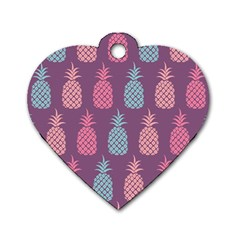 Pineapple Pattern  Dog Tag Heart (one Side) by Nexatart