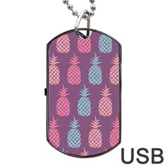 Pineapple Pattern  Dog Tag Usb Flash (one Side) by Nexatart