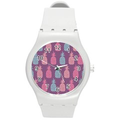 Pineapple Pattern  Round Plastic Sport Watch (m) by Nexatart