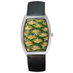 Pineapple Pattern Barrel Style Metal Watch by Nexatart