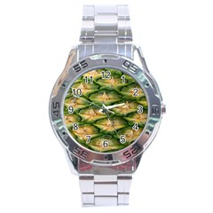 Pineapple Pattern Stainless Steel Analogue Watch