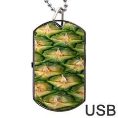 Pineapple Pattern Dog Tag USB Flash (Two Sides) by Nexatart