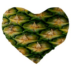 Pineapple Pattern Large 19  Premium Flano Heart Shape Cushions by Nexatart