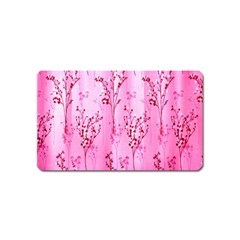 Pink Curtains Background Magnet (name Card)