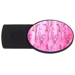 Pink Curtains Background Usb Flash Drive Oval (4 Gb)