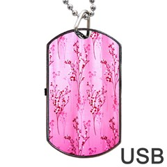 Pink Curtains Background Dog Tag Usb Flash (two Sides)