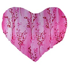 Pink Curtains Background Large 19  Premium Heart Shape Cushions by Nexatart